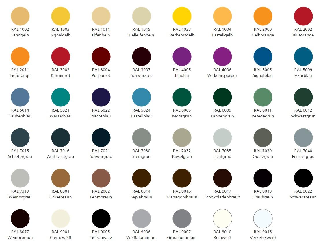 Weinor RAL-Farben
